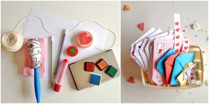 idées originales pour personnaliser une enveloppe en origami diy avec des tampons encreurs et des stickers, plier une enveloppe asymétrique