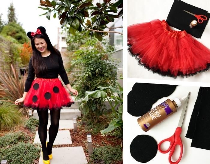 matériaux pour faire un costume facile Halloween, idée de déguisement dernière minute pour femme, déguisement minnie mouse