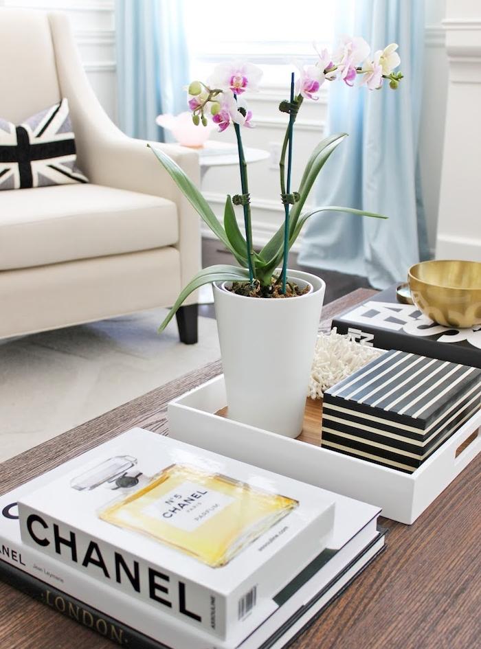 decoration de table originale avec une orchidée rose et blanc, fauteuil blanc, rideaux bleus, plantes fleuries d intérieure
