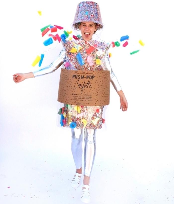 exemple de costume rigolo pour Halloween, déguisement femme DIY, costume confetti à faire soi même à petit budget