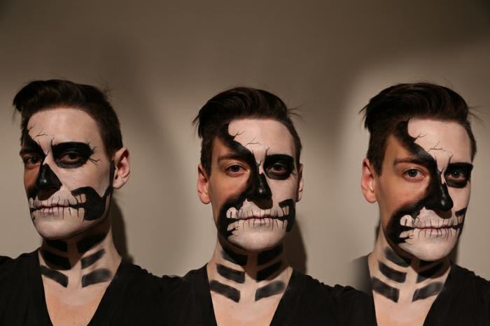 maquillage demi tête de mort en noir et blanc, maquillage simple et original fait avec peinture visage
