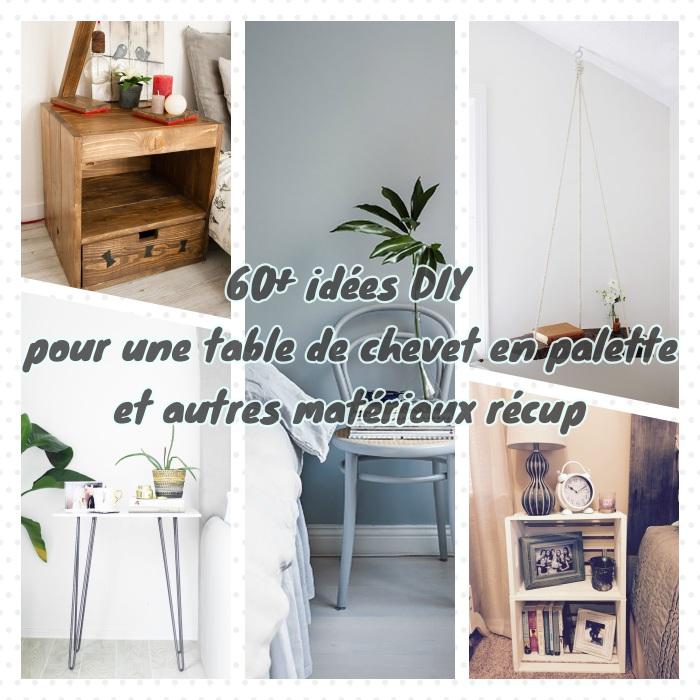 idées pour votre table de chevet palette et autres objets recup comme la cagette de bois, la dalle de marbre, la chaise et le rondin de bois