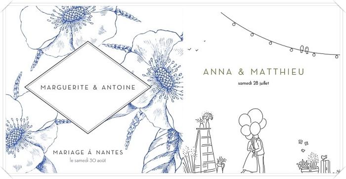 carte d'invitation mariage rosemood, idée faire part de mariage avec jolie illustration de couple dans la nature