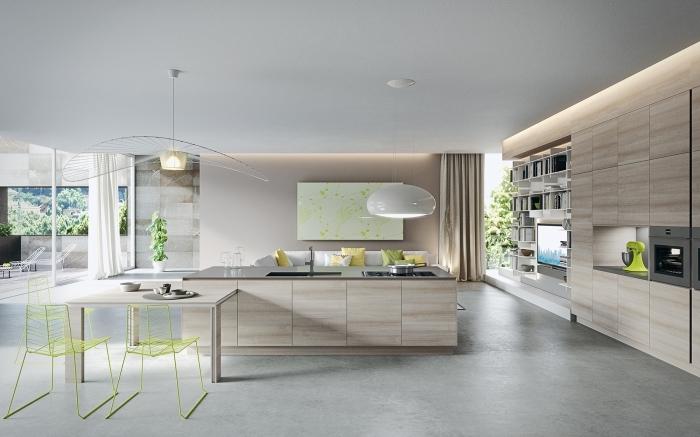cuisine contemporaine spacieuse avec îlot central, modèle de cuisine ouverte aux lignes épurées et design minimaliste