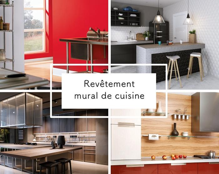 credence cuisine moderne en bois clair avec rangement mural étagère en verre, déco de cuisine contemporaine en blanc et noir avec îlot