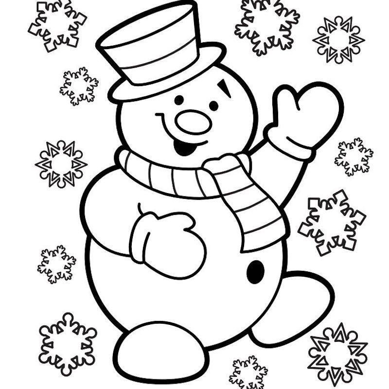 dessin facile bonhomme de neige joyeux entouré de flocon de neige pour coloriage de noel petit enfant