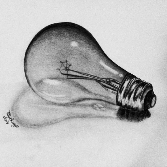 Dessin noir et blanc facile, dessin pour debutant, les dessins originaux, metaphore de productivite, bulbe d electricite