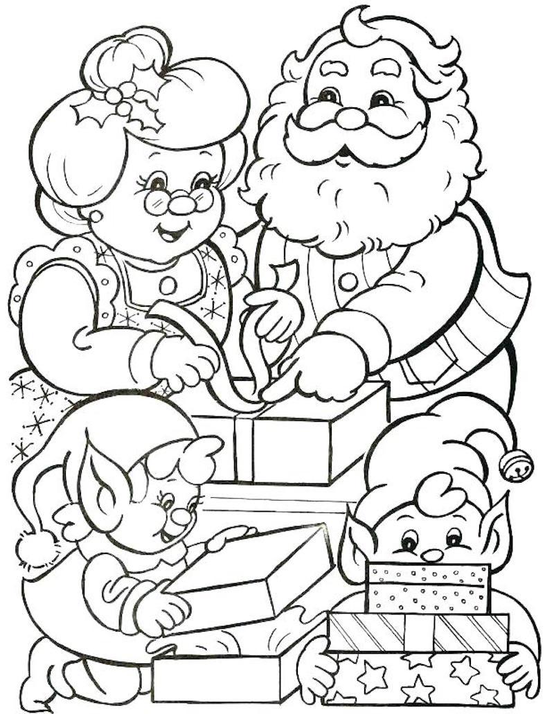dessin de la famille du pere noel avec mere noel et les enfants lutins qui préparent les cadeaux pour coloriage