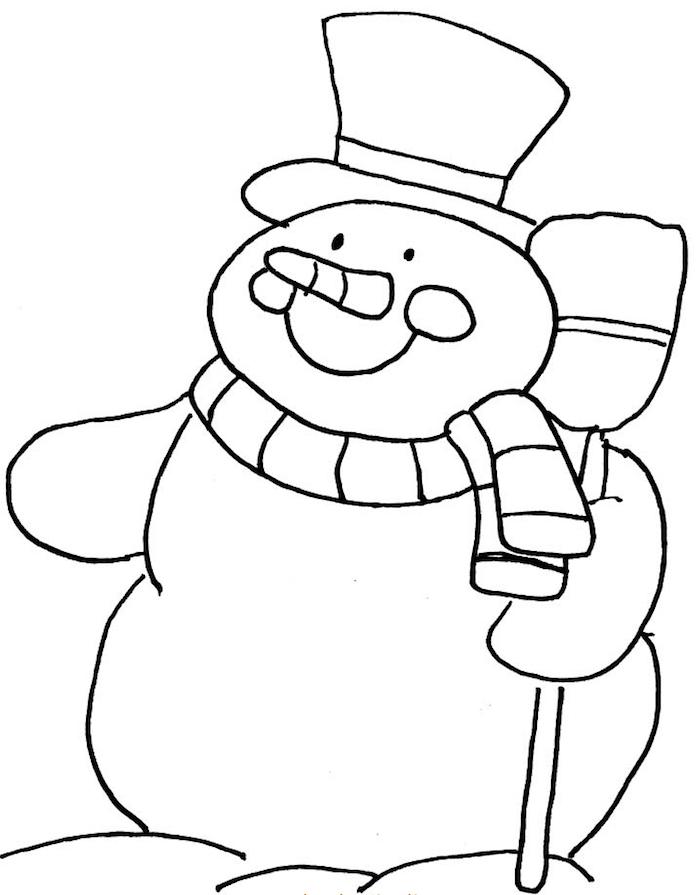dessin de bonhomme de neige facile à colorier pour les fetes de noel en activité de vacances