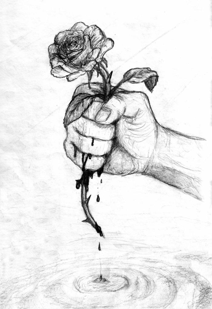 Dessin noir et blanc facile, dessin triste pour debutant, art main et rose avec cuisse noir et blanc, main et sang