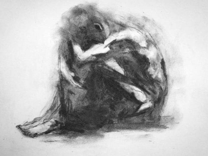 Dessin d'homme assise, dessin noir et blanc facile pour les experts, crayon fusain portrait expressive de solitude, dessin triste