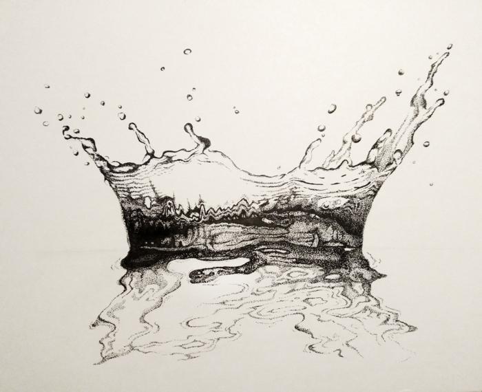 Créer de l'art dessin difficile a dessiner, dessin noir et blanc réproduire un gout d'eau, cool idée de dessin avec beaucoup de detailles