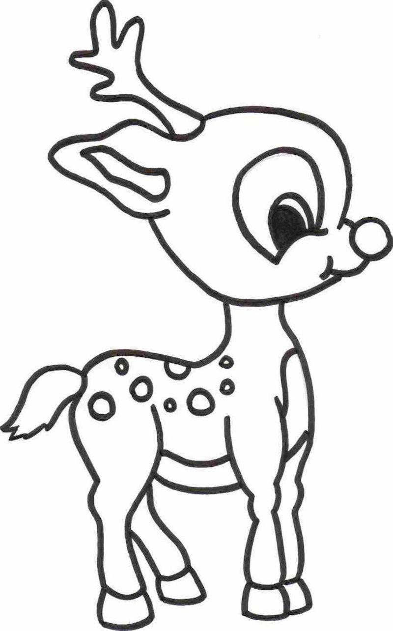 dessin simple d une petite biche style bambi bébé comme symbole de noel à colorier