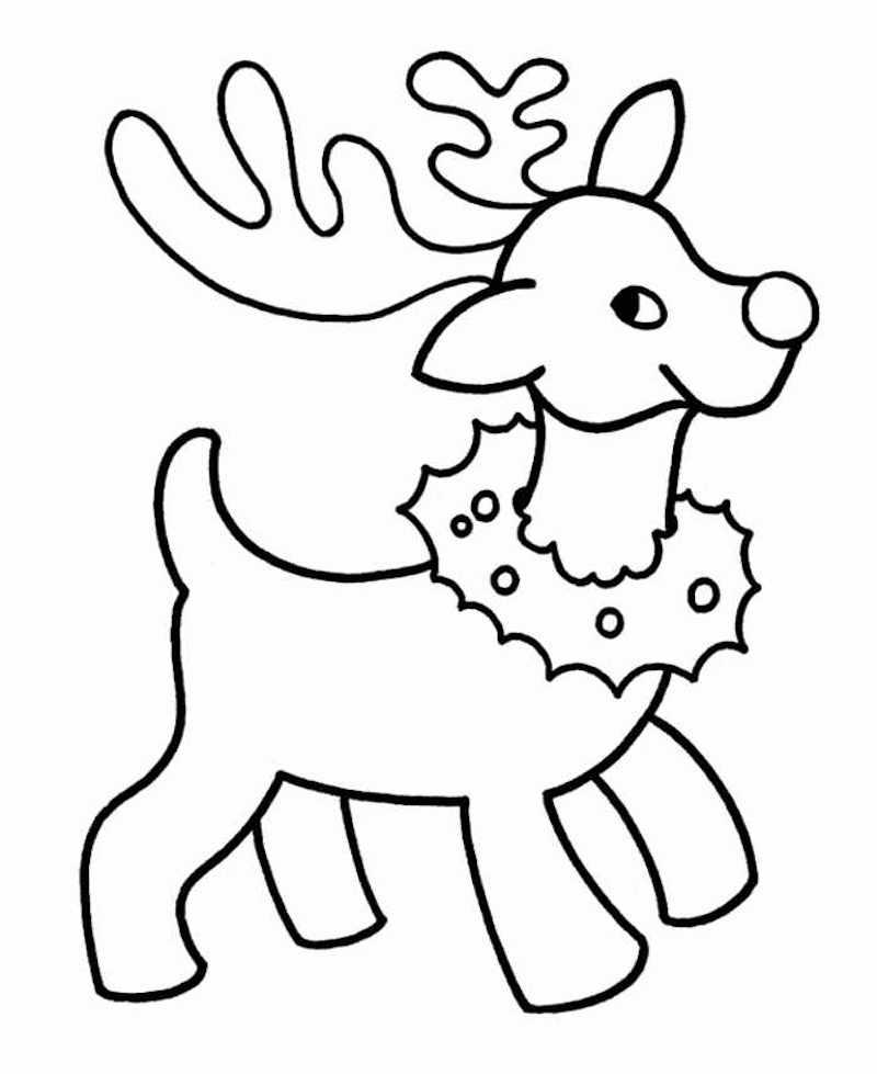 dessin renne de noel a imprimer a telecharger à colorier pour coloriage de noel facile
