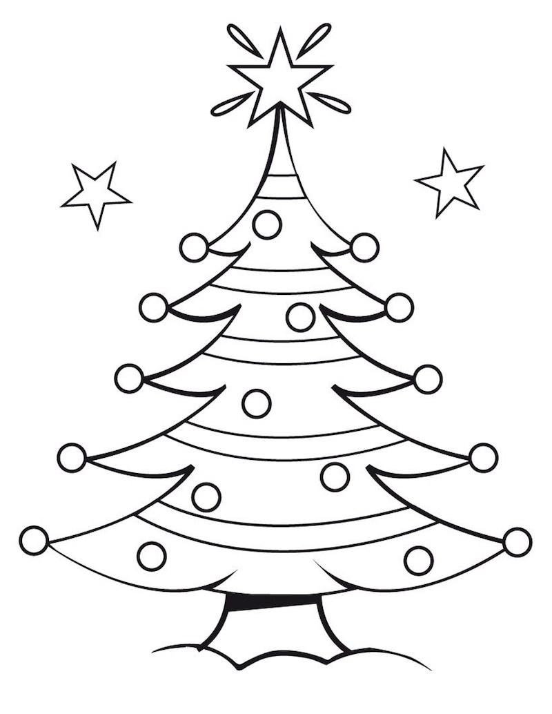 dessin simple de sapin décoré comme idée de coloriage de noël pour enfants