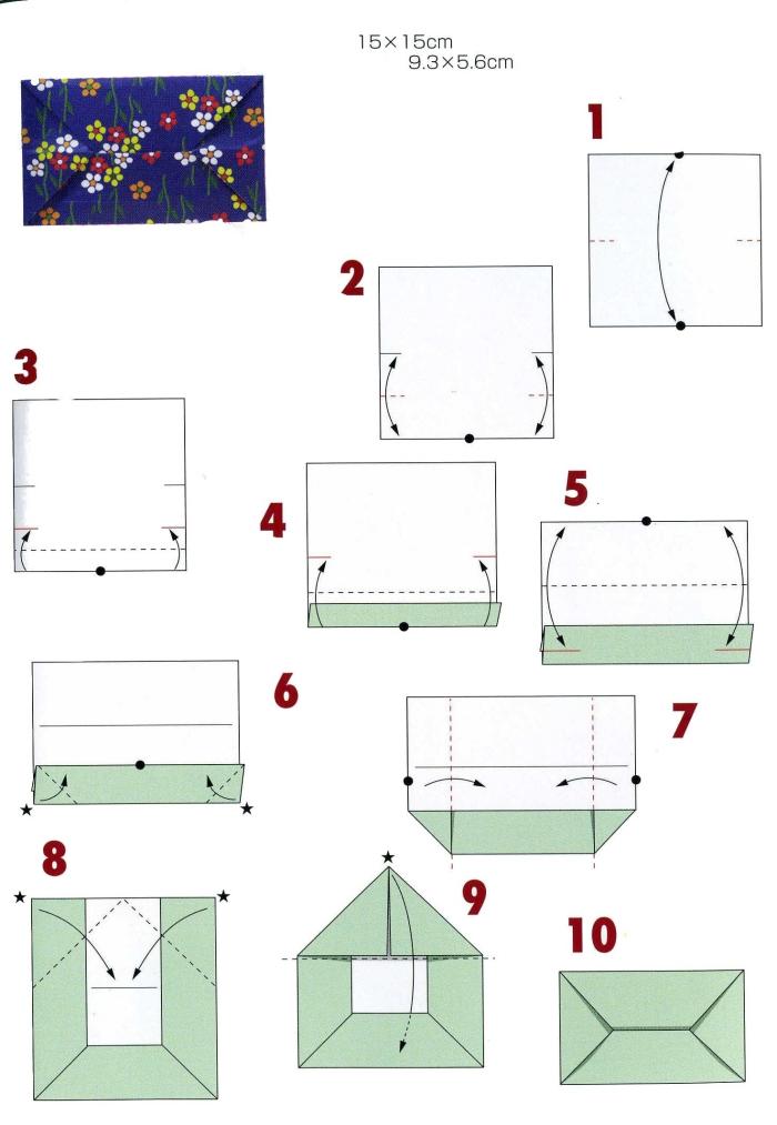 le diagramme de plis pour faire une enveloppe pliée traditionnelle, modèle d'origami traditionnel pour faire une enveloppe rectangulaire