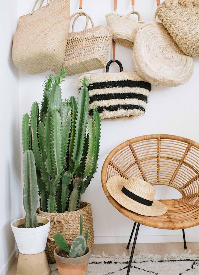chaise en rotin exotique sur pieds metallique, deco mural sac cabas et cactus plantés en pot et dans un panier rotin, deco cactus tropicale