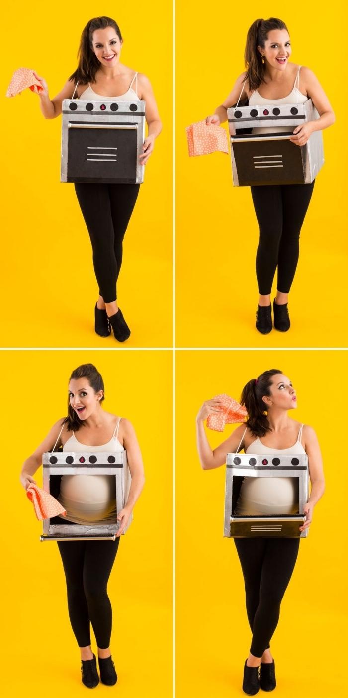 idée deguisement a faire soi meme facile, modèle de costume Halloween pour femme enceinte, déguisement four en carton