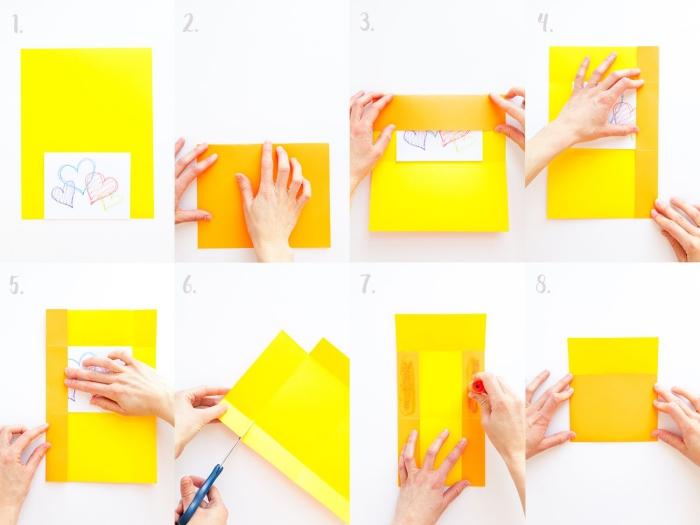 tuto avec les instructions de pliage pour faire une enveloppe avec une feuille a4, enveloppe diy jaune fermée avec de la colle