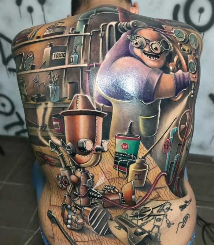 Quel tatouage dos choisir, une idée de tatouage en commun art sur la peau, dos entierement tatoue