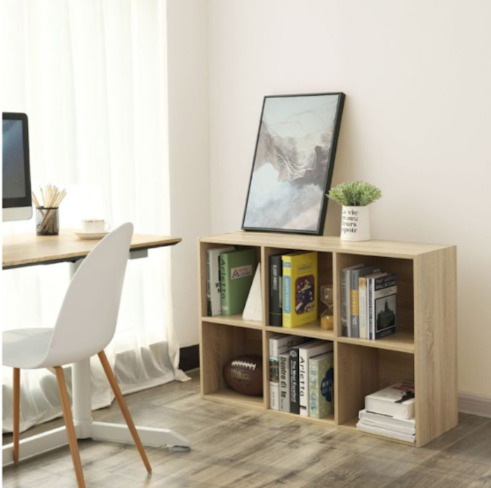 photo etagere bibliotheque simple à 6 compartiments de songmics simple et pratique