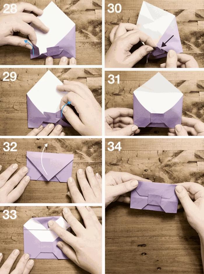 comment faire une enveloppe avec une feuille papier carrée, pliage origami enveloppe en forme de noeud papillon
