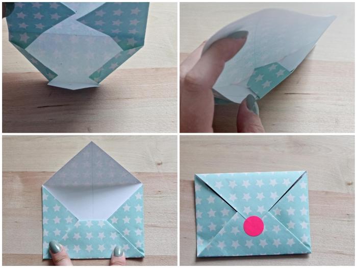 les étapes de pliage d'une enveloppe en origami facile pour offrir une petite surprise à vos proches, enveloppe diy en papier à pois fermée avec un sticker autocollant