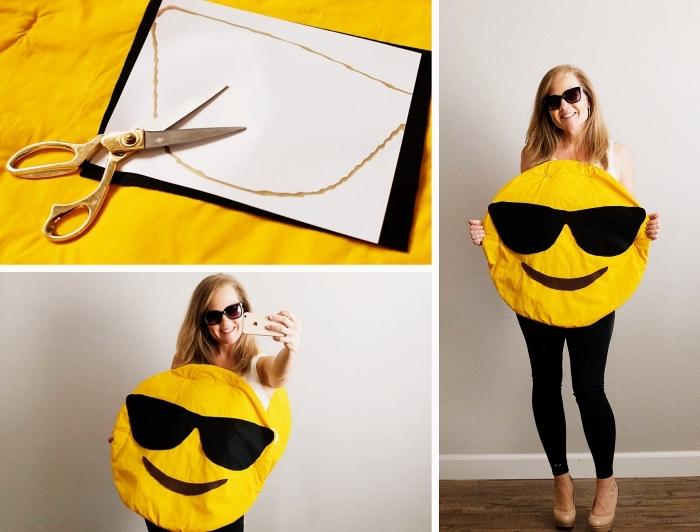 comment faire un costume insolite pour Halloween, exemple de deguisement a faire soi meme facile, costume emoji en tissu jaune
