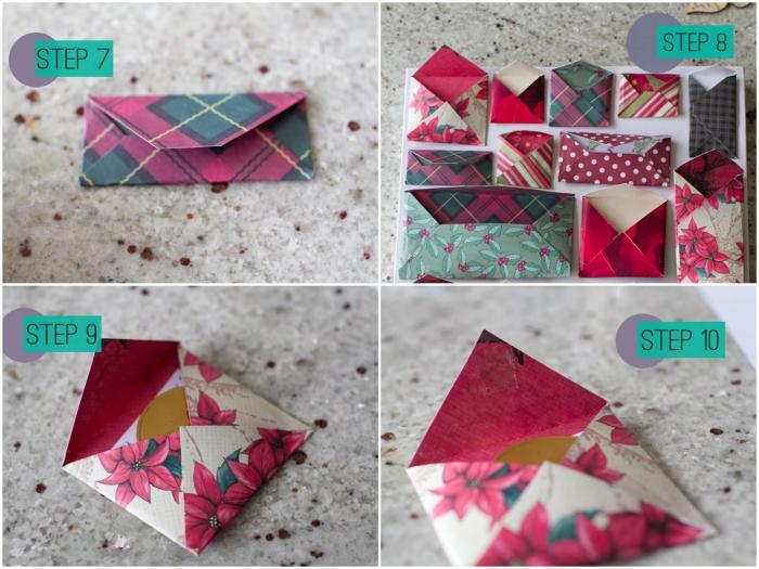 des modèles d'origami enveloppe en formats variés pour les fêtes de fin d'année, pliage facile d'une petite enveloppe réalisée avec du papier double face à motif de noel