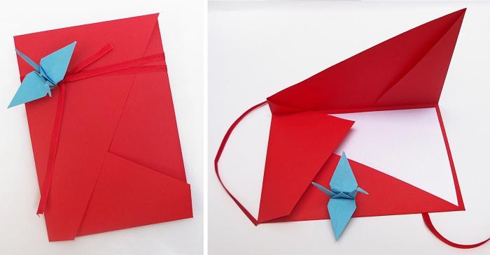 jolie pochette asymétrique avec grue en origami pour y glisser un faire-part ou une invitation de mariage, jolie pochette origami feuille a4