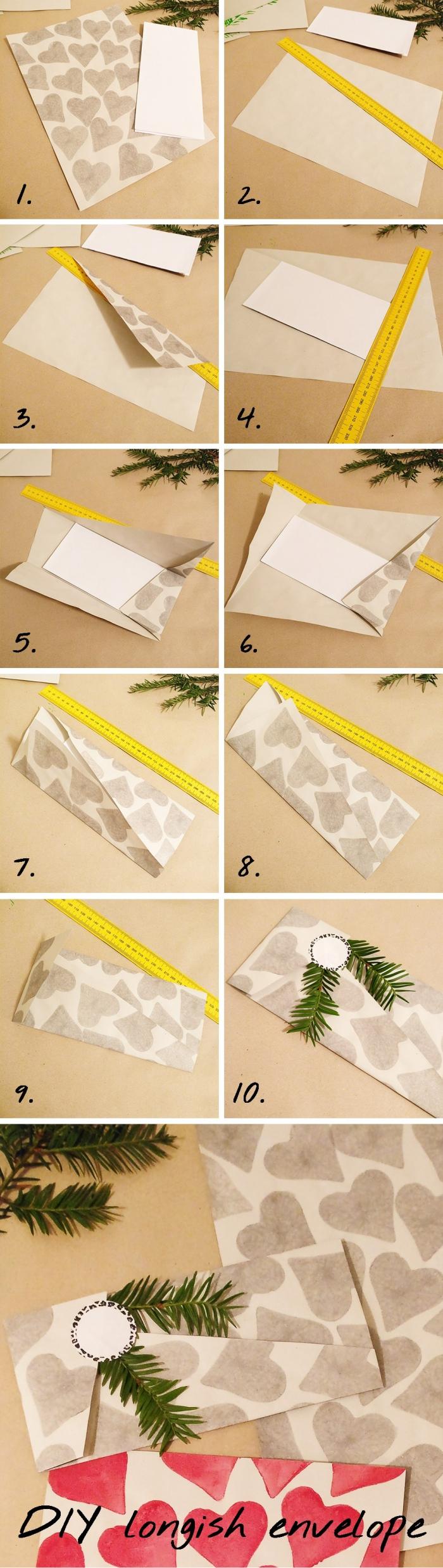 idée d'emballage de noël à faire soi-même, faire une enveloppe avec une feuille a4 imprimé coeurs, enveloppe de noël naturelle avec rabat asymétrique décorée avec une branche de sapin