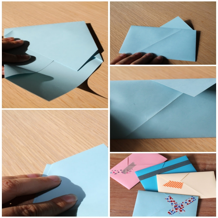 joli modèle d'enveloppe-pochette asymétrique, comment faire une enveloppe avec une feuille a4 pliée selon la technique origami
