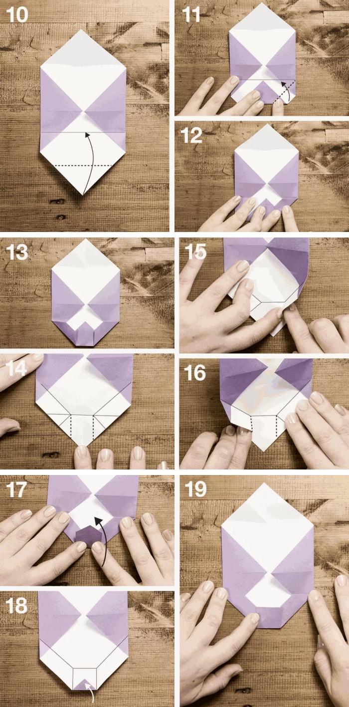 pliage origami niveau moyen et avancé pour réaliser une enveloppe noeud papillon, comment faire une enveloppe en papier en forme de noeud paplllon
