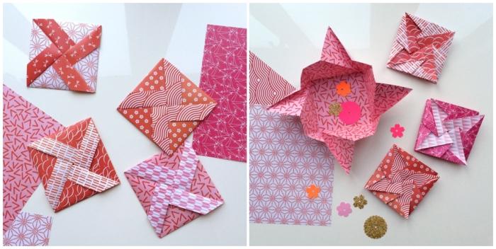 fabriquer une enveloppe avec la technique du pliage, enveloppe diy avec motif moule à vent en origami
