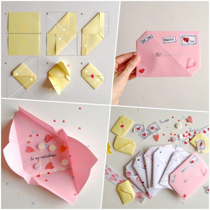 petite enveloppe en origami asymétrique à décorer avec des timbres et des tampons personnalisés