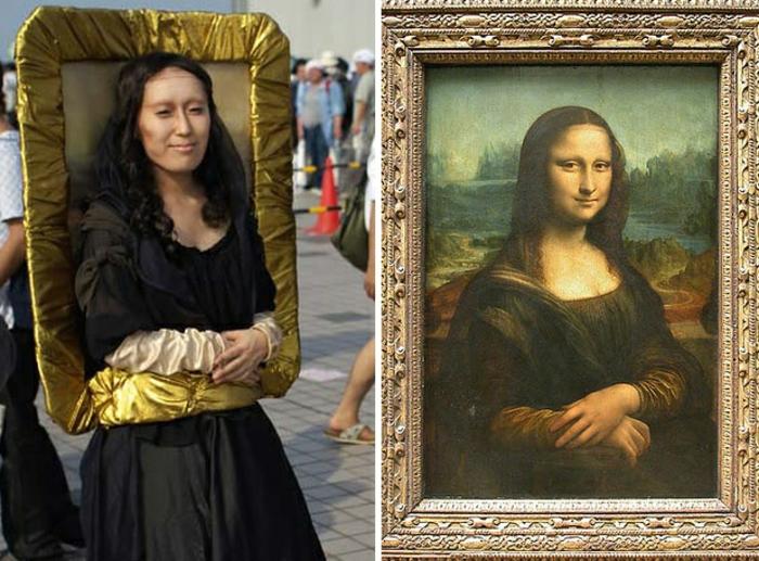 Thème déguisement theme de soiree insolite, quelle est la meilleure idee pour se costumer, se transformer a une peinture literellement, Mona Lisa deguisement original