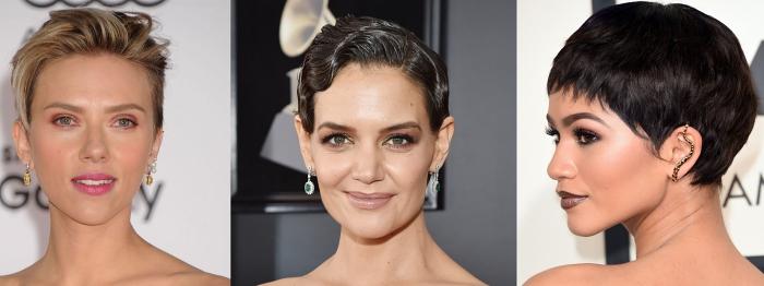 idée coupe de cheveux courts femme, modèle de coupe à la garçon avec frange longue, modele coiffure femme aux cheveux crantés