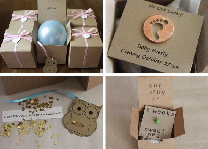 modèle cadeau surprise pour annoncer sa grossesse aux grand-parents, modèle de faire part creatif dans une petite boîte en carton