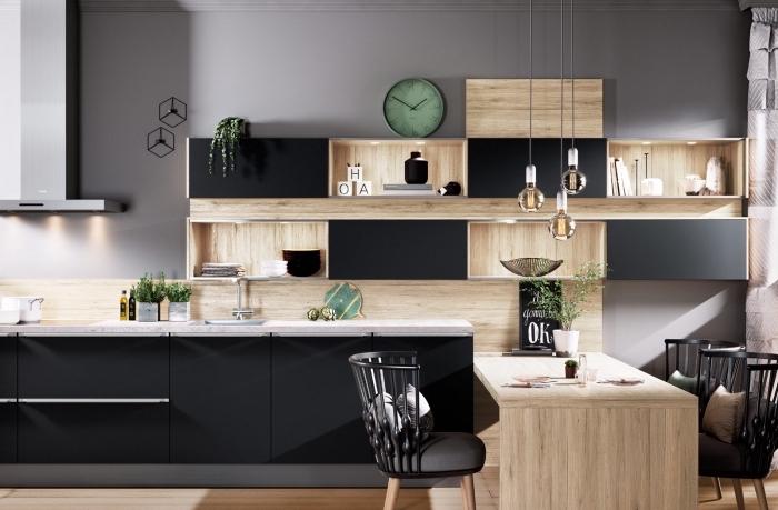 quelles couleurs associer pour une déco cuisine moderne, modèle crédence de cuisine en bois avec étagères
