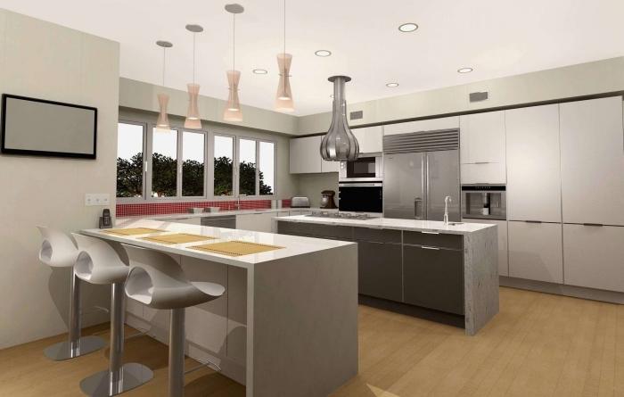 modèle de cuisine moderne en blanc et gris, exemple cuisine en longueur avec deux îlots, idée implantation cuisine