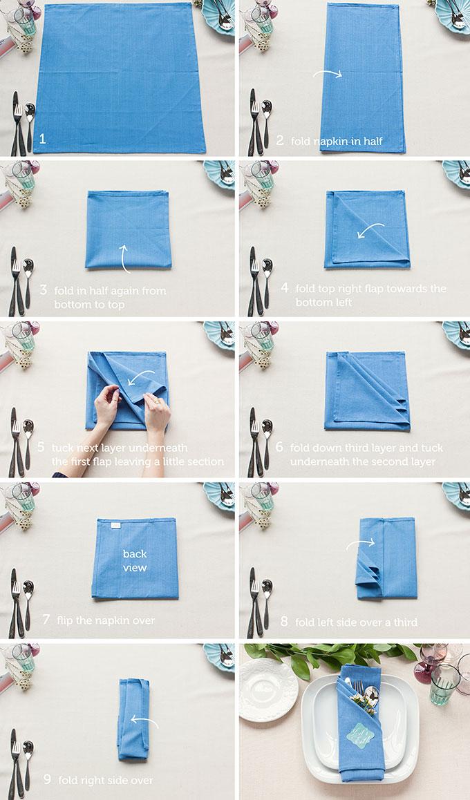 comment realiser un pliage serviette tissu bleu avec range couvert triple poche, serviette dans assiettes blanches