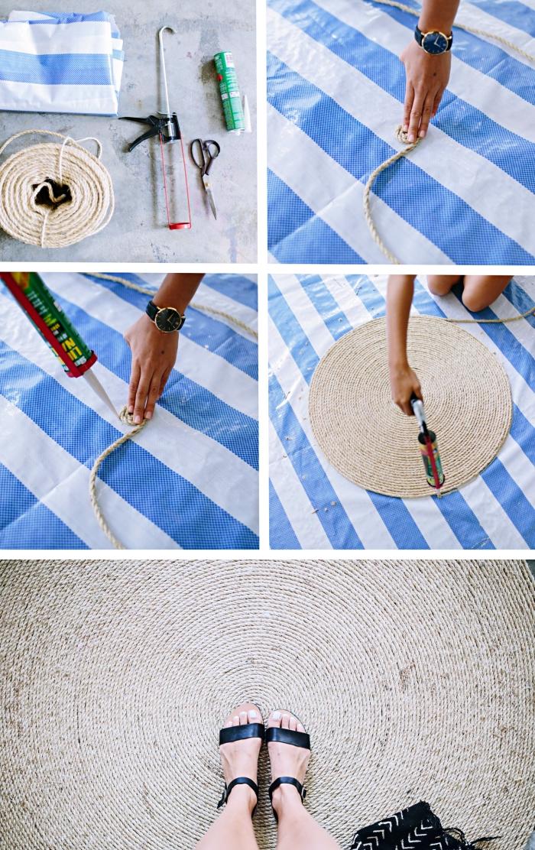 comment faire un tapis en corde facile, modèle de tapis diy en corde en forme de spirale, tutoriel pour créer un tapis
