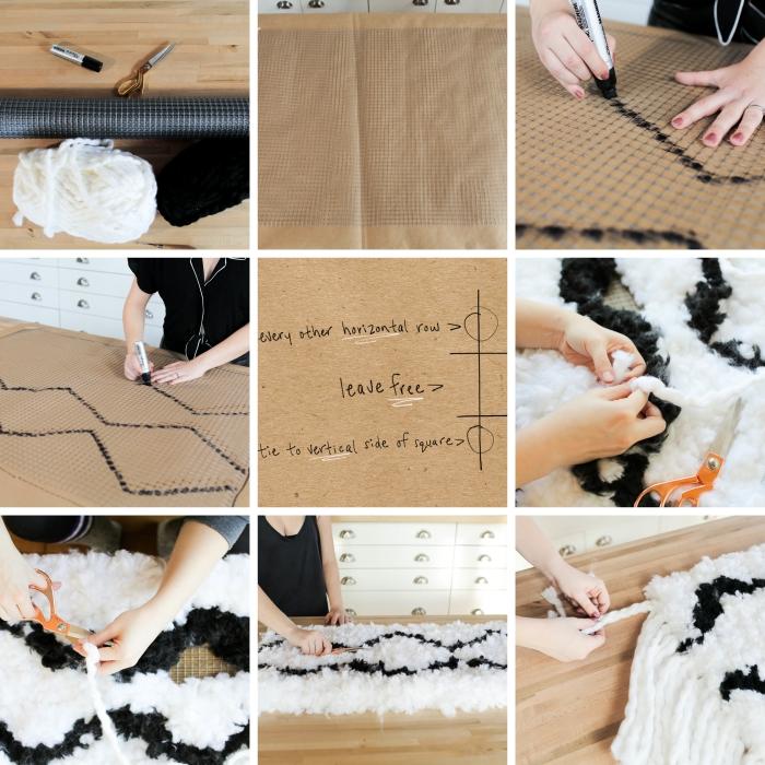 tutoriel pour apprendre à réaliser un tapis stylé en blanc et noir, modèle de tapis de jeu enfant ou de déco en cotton ou laine