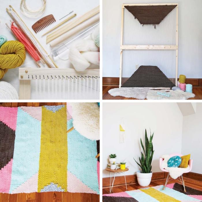 modèle de tapis tissé en couleurs, idée comment faire un objet déco multicolore, design intérieur avec objets colorés