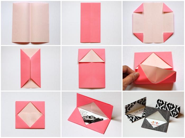 comment faire une enveloppe avec une feuille de papier carrée, pochette pour bon cadeau à faire soi-même