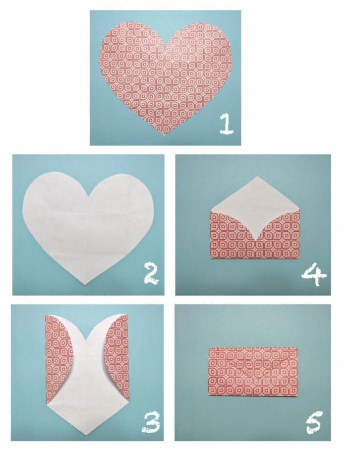 comment faire une enveloppe avec une feuille en forme de coeur, adorable enveloppe diy en papier origami réalisée avec quelques pliages simples