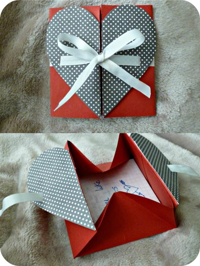 modèle d'enveloppe origami feuille a4 avec fermeture coeur à pois et un joli ruban, enveloppe ou pochette origami pour y glisser un mot d'amour