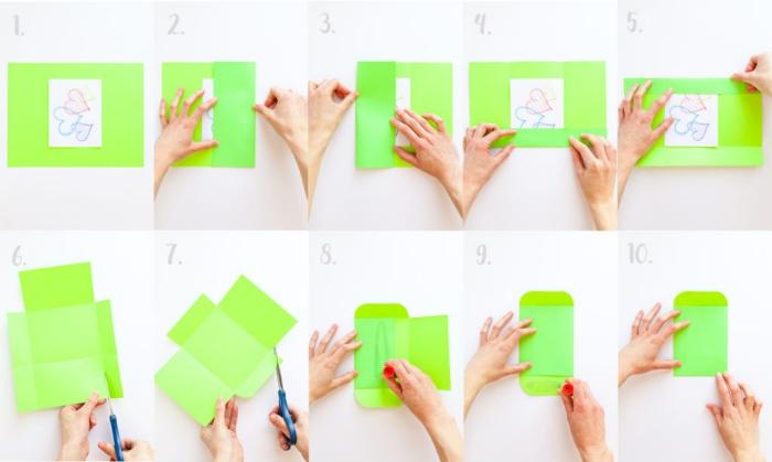 comment faire une enveloppe avec une feuille a4 pour y glisser une carte de voeux, une enveloppe diy fermée avec de la colle