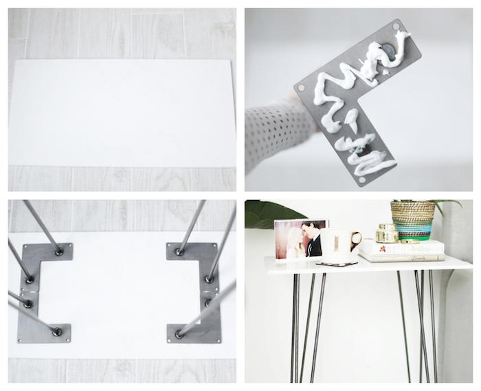 dalle de marbre en guise de plateau de table et pieds en épingle à cheveux, tuto bricolage pour faire une table de nuit originale