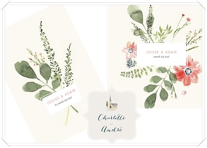 exemple carte d'invitation mariage à design floral, modèle de faire part à design fleurs aquarelle avec prénoms